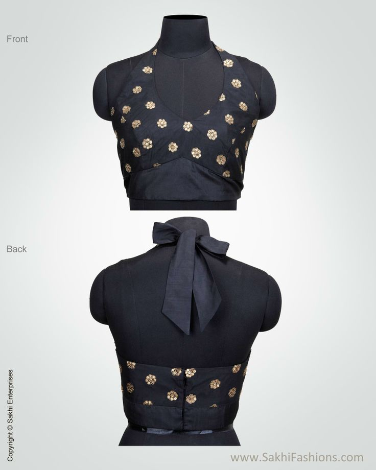 Elegant black halter blouse featuring sequin detailing with motifs inspired by flora http://www.sakhifashions.in/blouse/bl-0019-halter-black.html