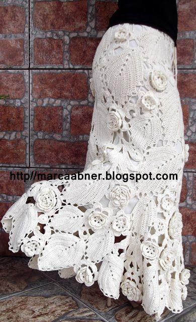 Marcinha crochet: Irish crochet leaves & flowers long skirt