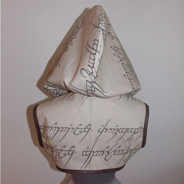 Size Medium Elvish Writing Lotr Hoodie Bolero Shrug by Loriann Costume... ($75) ❤ liked on Polyvore featuring outerwear, grey, sweatshirts, women's clothing, gray shrug, shrug cardigan, grey shrug and cardigan shrug