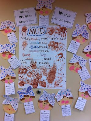 """Mud poems inspired by a reading of """"Mrs. Wishy Washy"""""""