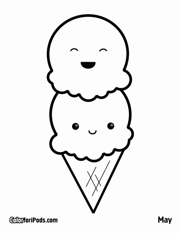 24 Ice Cream Coloring Pages Printable в 2020 г | Книжка ...