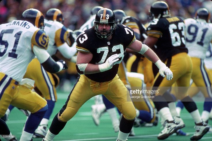 Offensive lineman Justin Strzelczyk #73 of the Pittsburgh Steelers blocks against the St. Louis Rams at Three Rivers Stadium on November 3, 1996 in Pittsburgh, Pennsylvania. The Steelers defeated the Rams 42-6.