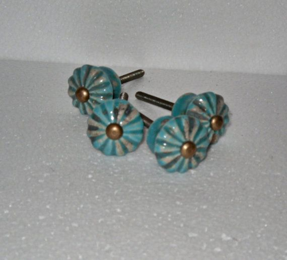Turquoise dresser knobs drawer knobs pulls scalloped for Turquoise door knobs