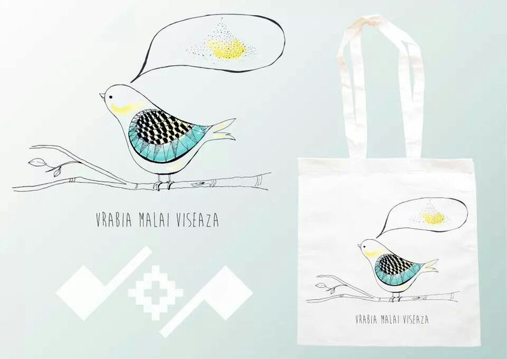 Vrabia malai viseaza!   Romanian inspiration design printed on cotton bag;  https://m.facebook.com/beeboo814?_rdr#!/design.cu.origini.populare