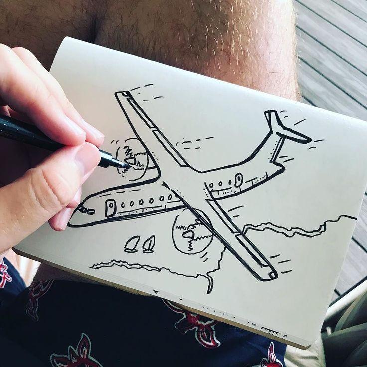 Even if it rains in the Caribbean theres always illustrating to do #drawing #sketch #plane #propellorplane #plane #avgeek #aviation #aeropress #aeroplane #airplane #flight #creative #creativity #jamaica #holiday #travel #travelling #illustration