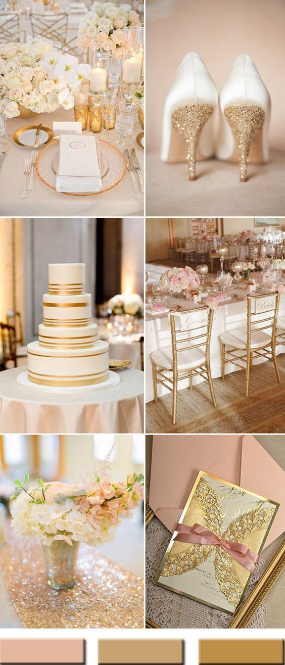 elegant peach and gold wedding color ideas