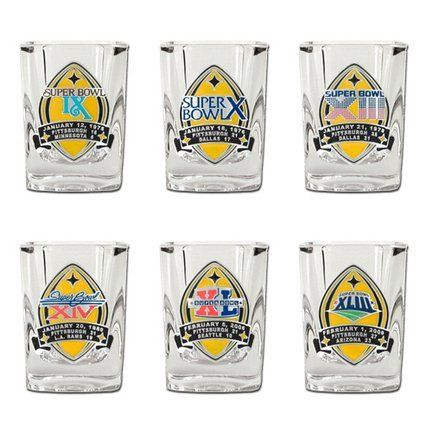 Pittsburgh Steelers Shot Glass Gift Set by Trail Town Finds. $45.95. Do Not Microwave. Shot Glass For Each Super Bowl. High End Glassware. Do Not Use in Dishwasher. Date-Team-Score of each Super Bowl. Six Superbowl Wins  Six Shot Glasses   One Very Cool Set
