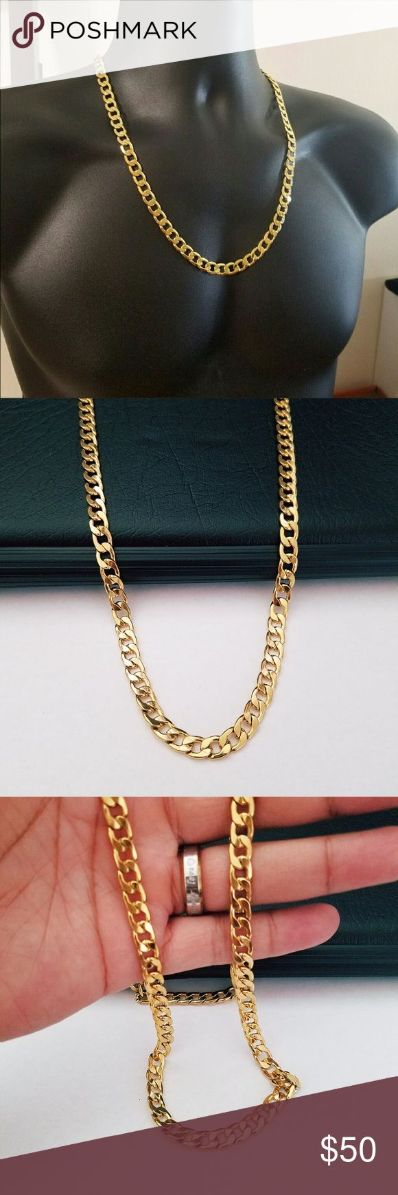 """18k Gold Beautiful Cuban Curb Chain!!! is made out of 24k gold filled and it has all the great characteristics of solid gold jewelry. Do not compare gold filled jewellery to plated because there are no comparison.  Gold Filled, is extremely long lasting and if taken care of. Stamped///High Quality  Length: 24"""" Width: 8mm  C-068 Accessories Jewelry"""