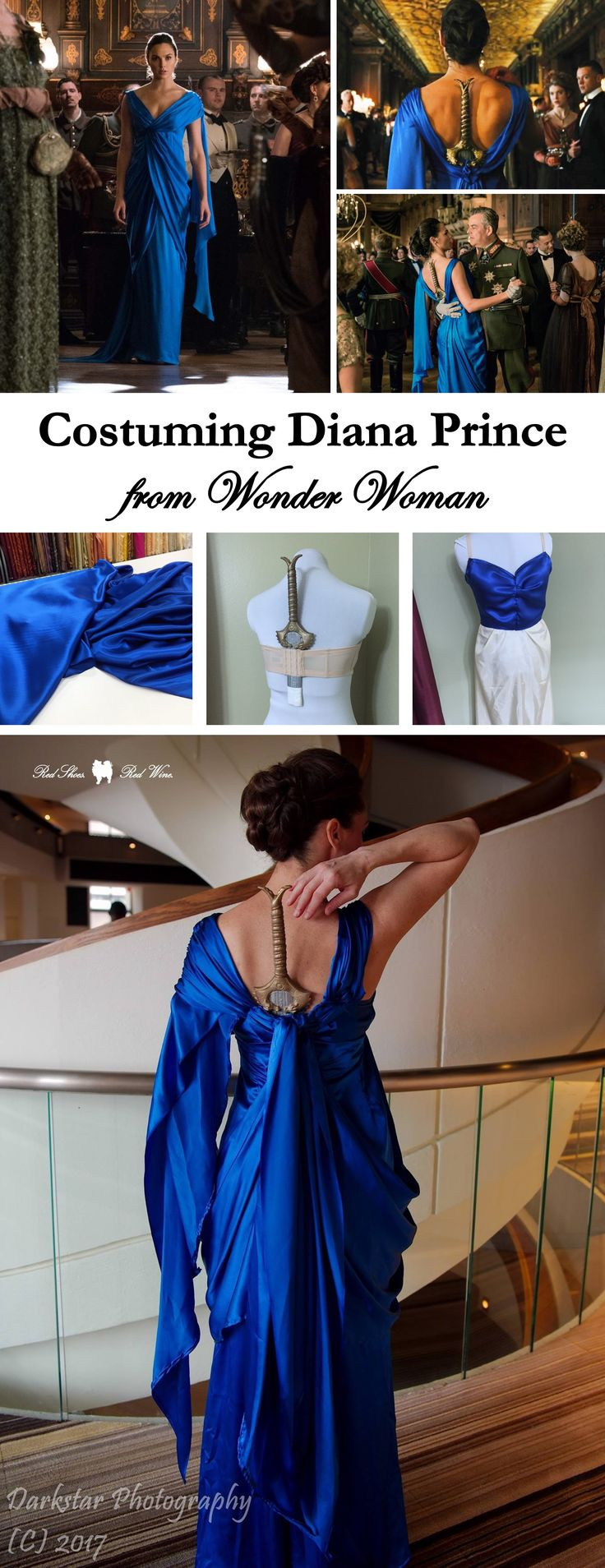 Costuming Diana Prince from Wonder Woman (how-to, film, movie, amazonian, themyscira, diana prince, warrior women, amazons, costume, cosplay, dragoncon, sewing, blue dress, sword dress, gala, silk, boots, amazon, ootd)