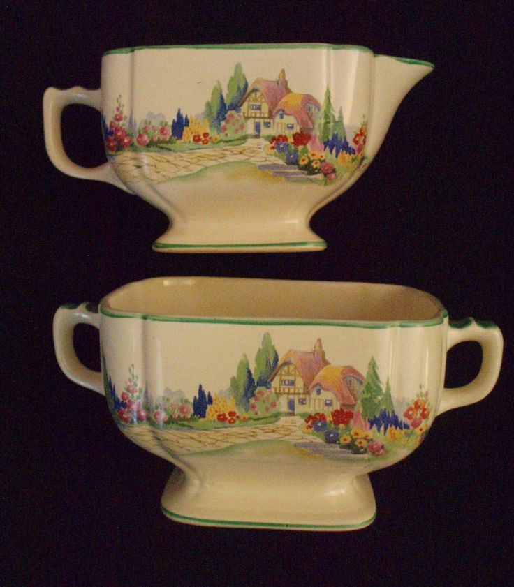 Homer Laughlin Wells English Garden Cream And Sugar FREE SHIPPING  $50.00 OBO