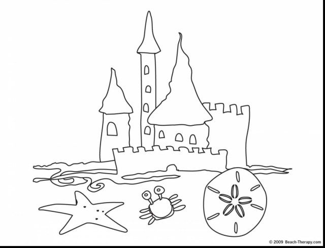 Marvelous Image Of Sand Castle Coloring Page Beach Coloring