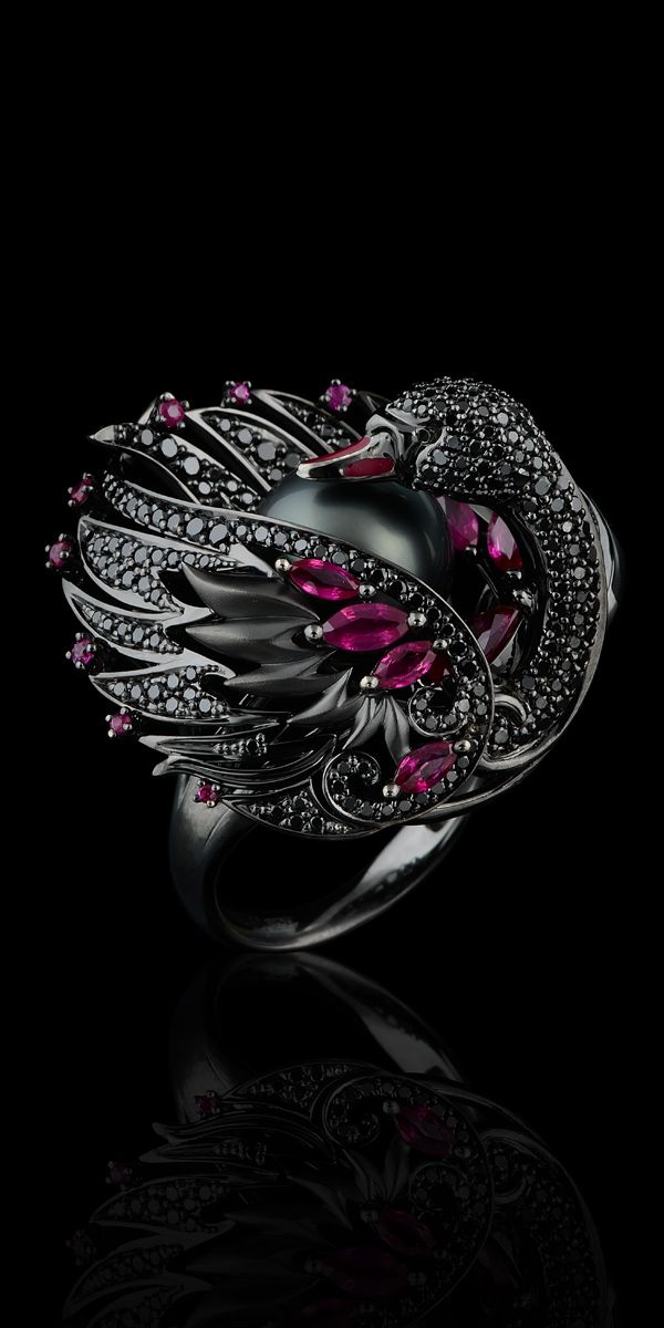 Master Exclusive Jewellery - Collection - Birds of paradise ring #6720. 18K gilding gold, black sea pearls, black diamonds, rubies, enamel.