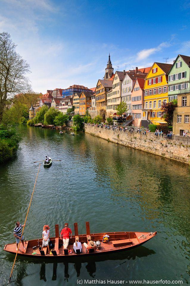 Tübingen Neckarfront (Neckar waterfront), lovely old houses and a punt…