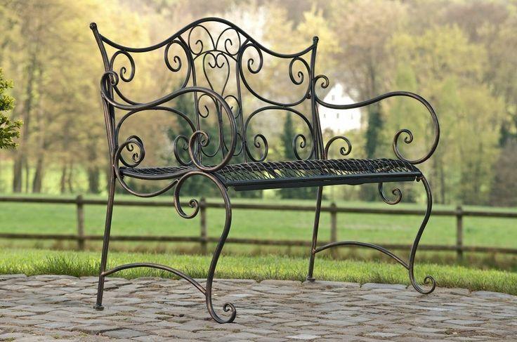 Gartenbank Tara mit Lehne, antikes Design