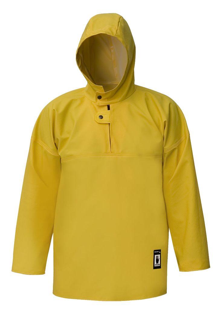 VAREUSE IMPERMÉABLE Modèle: 102 La veste possède une capuche fixe, les coupes-vent intérieurs, et la fermeture à boutons pression. Le modèle est fabriqué en tissu imperméable appelé Plavitex, qui est recommandé à l'usage pendant de différents travaux de pêche. La veste protège contre le vent et la pluie et contre de l'eau salée. Les soudures bilatérales haute fréquence augmentent la résistance des coutures. Le produit est conforme aux normes EN ISO 13688 et EN 343.