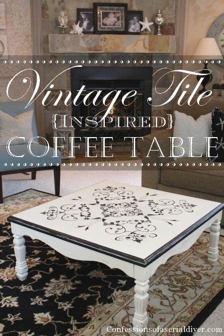 $10 Thrift Store table makeover with Vintage Tile-Inspired Design