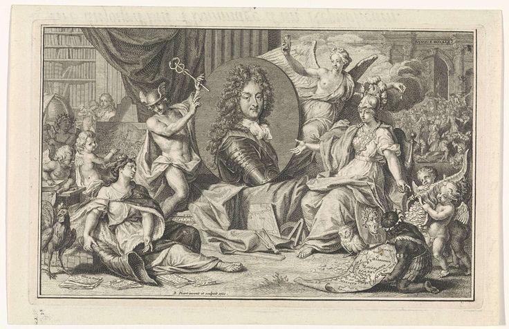 Bernard Picart | Allegorie op de Franse economie met het portret van Filips II, hertog van Orléans, Bernard Picart, 1720 | Portret van Filips II, hertog van Orléans. Links zit de bedroefde personificatie van Frankrijk, met een lege hoorn, obligaties en schuldbrieven aan de voeten. Achter het portret een gevleugelde vrouw met een zandloper, omgeven door wolken, die verwijst naar de Windhandel en de tijd die aan zal breken. Mercurius wijst Frankrijk op het portret van de hertog, die de Schotse…