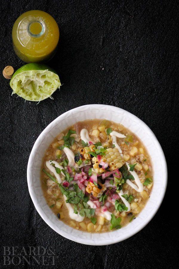 Grilled Mexican Street Corn Soup & Massel {Beard and Bonnet} #glutenfree #vegan