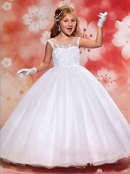 Vestidos de primera comunion 2015 elegante Appliqued cordón de la princesa vestidos de bola blanca niñas vestidos primera comunión para los niños JA674