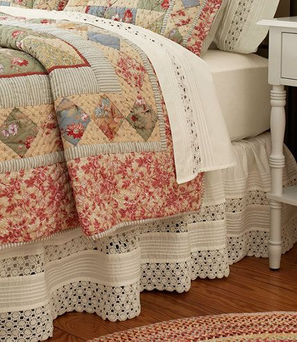 "Heirloom Crocheted Bed Skirt, 18"" Drop: Bed Skirts 