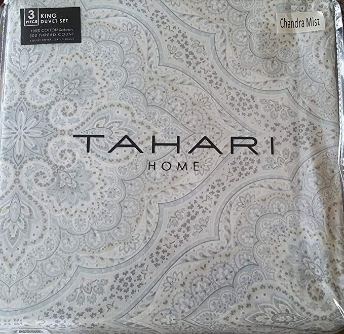 Tahari Home King Duvet Cover 3pc Set Moroccan Paisley Medallion Bohemian Style Blue Gray Tan Silver Luxury Sateen King Duvet Cover Cotton Bedding Duvet Covers