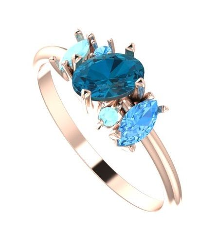 Diverse, exciting and unusual this engagement ring features an 18ct rose gold band with London blue, Aquamarine and Sky blue Topaz that twist around each other creating the illusion of movement.