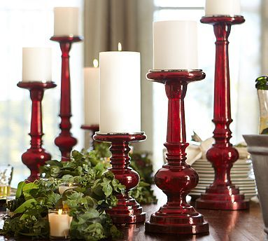 I just love the red glass...Pottery Barn here I come.  Red Mercury Glass Pillar Holders #potterybarn