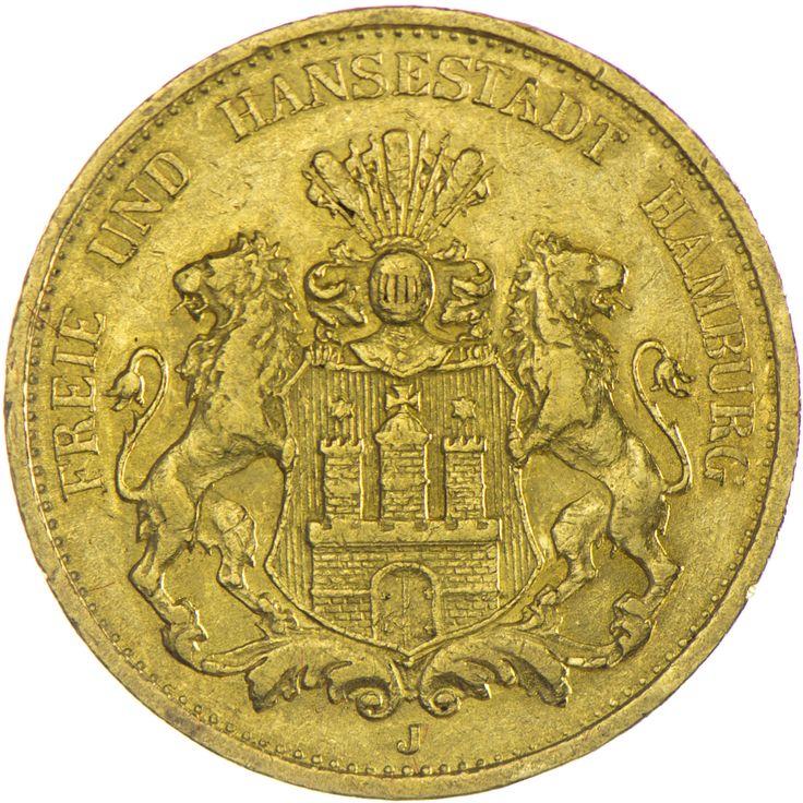 Hamburg 20 Mark 1876 J Gold Deutsches Kaiserreich