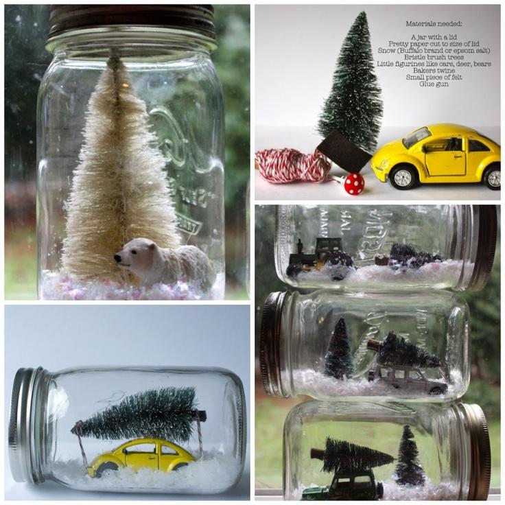 Weekend Project: Winter Scene Mason Jars  #DIY