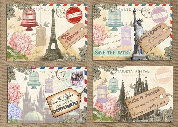 Vintage Postcard Destination Wedding Paris Praque New York Barcelona Wedding Invitation Stationery by In the Treehouse
