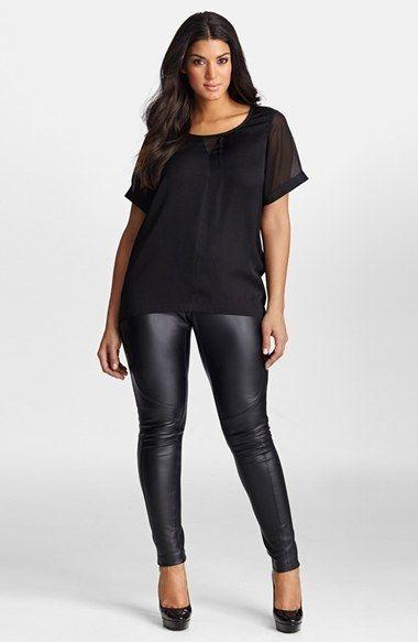 Plus Size Black Leather Leggings