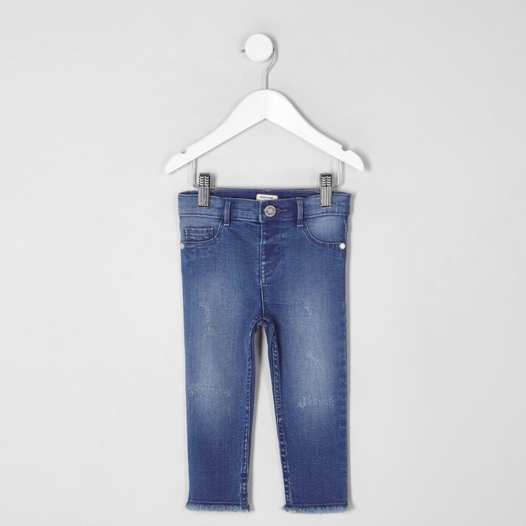 Mini girls blue skinny fit Molly jeans