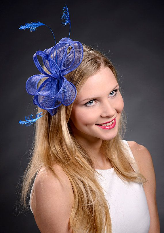 Royal blue fascinator for weddings, Ascot, Derby, bridal showers etc - New item for 2014 summer collection!