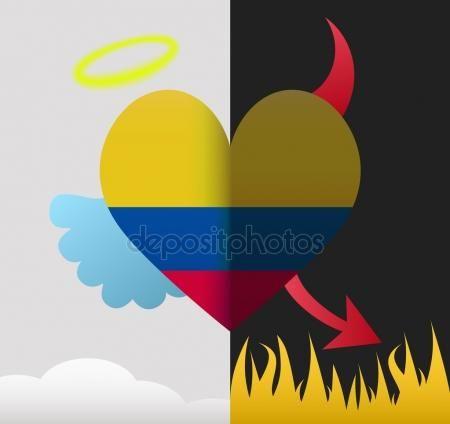 Corazón de Ángel y Diablo de Colombia Gráficos Vectoriales