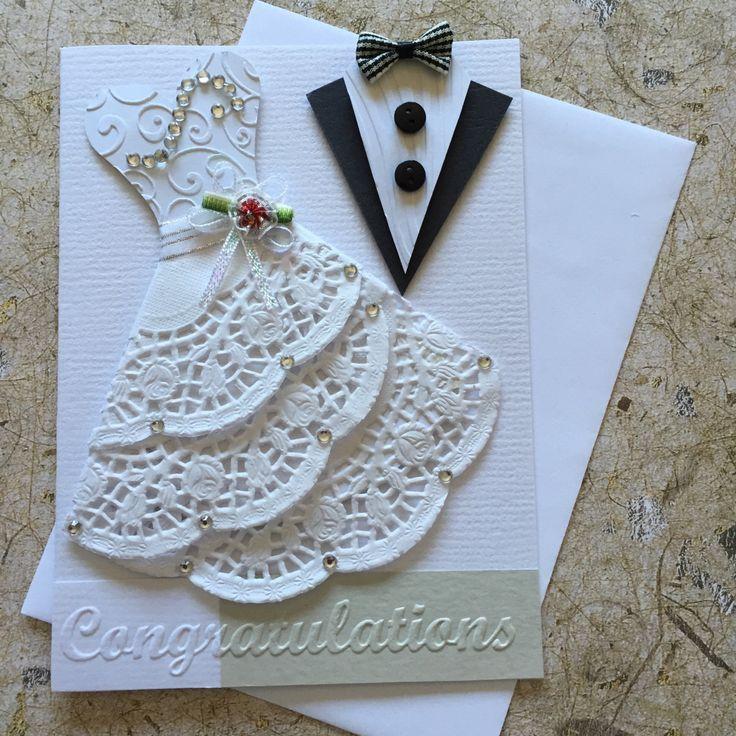 Handgemaakte bruiloft kaart. Lege invoegen Witte envelop opgenomen
