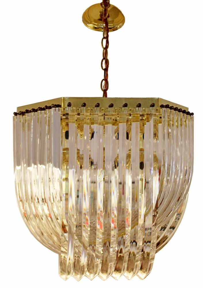 For Your Consideration Is An Elegant Brass And Lucite Ribbon Chandelier In Excellent Condition 20 Wide By 32 Vintage Ceiling Lights Ribbon Chandelier Light