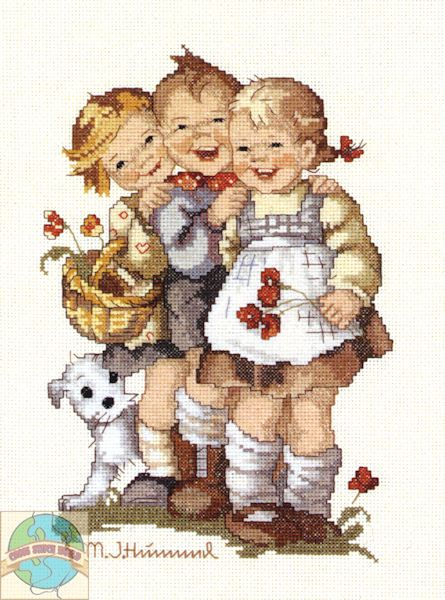 """""""Follow The Leader"""" Hummel cross stitch design, completed."""