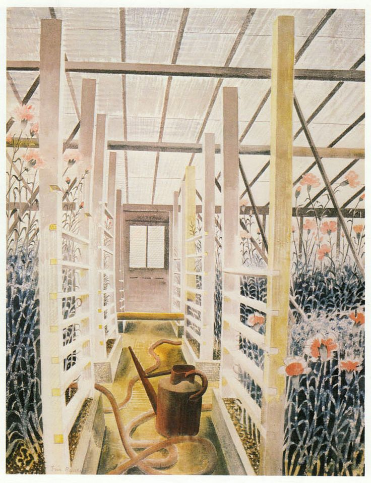 "eric ravilious ""carnation house"" -  ""Carnation House (1938), rather differently, is the study of a corridor in a greenhouse, with the lateral beams and uprights set off against the snaking and looping of a hose on the floor. The bend of the tall carnations emphasises the slight bowing of the posts, while the watering-can on the floor manages to appear both a collection of abstract shapes and something reassuring, useful, quotidian.""…"