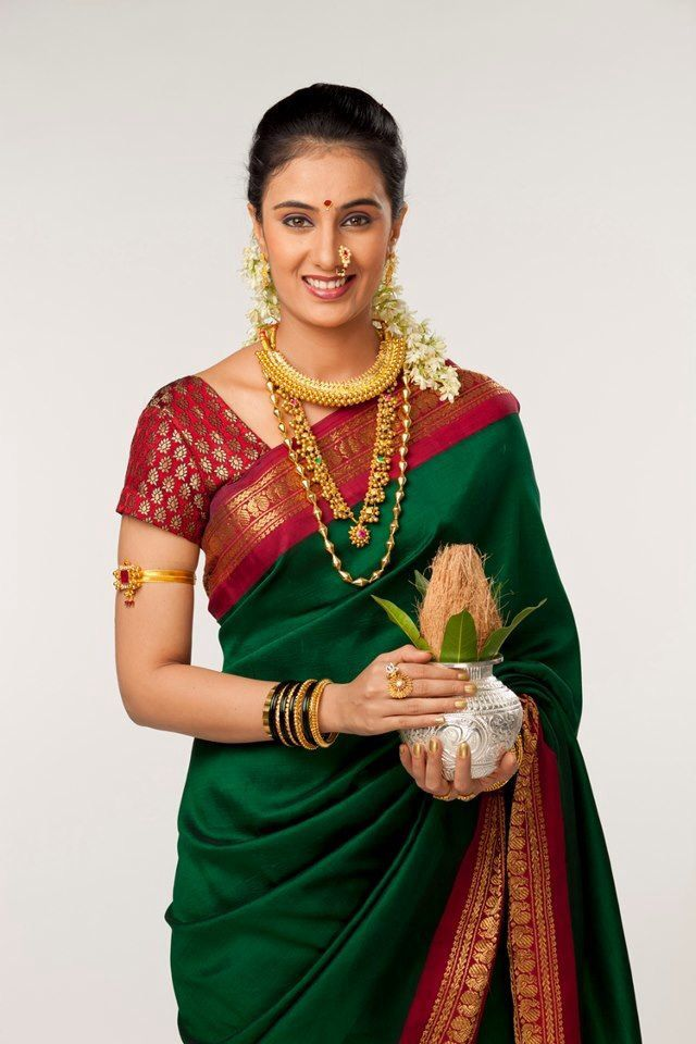 Sai Lokur in green beautiful Nauvari saree