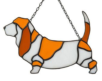 Unique stained glass with a motive of Basset Hound