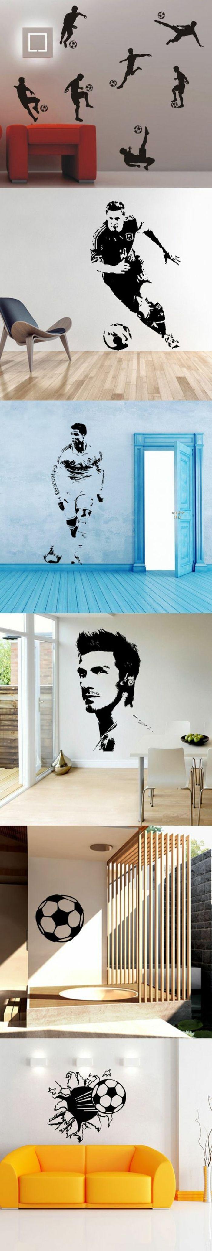 chambre ado lit ado deco sur le thème du football ave des couleurs vives sur les murs et les portes