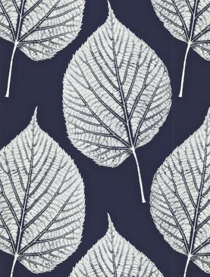 Harlequin Leaf wallpaper in navy and white
