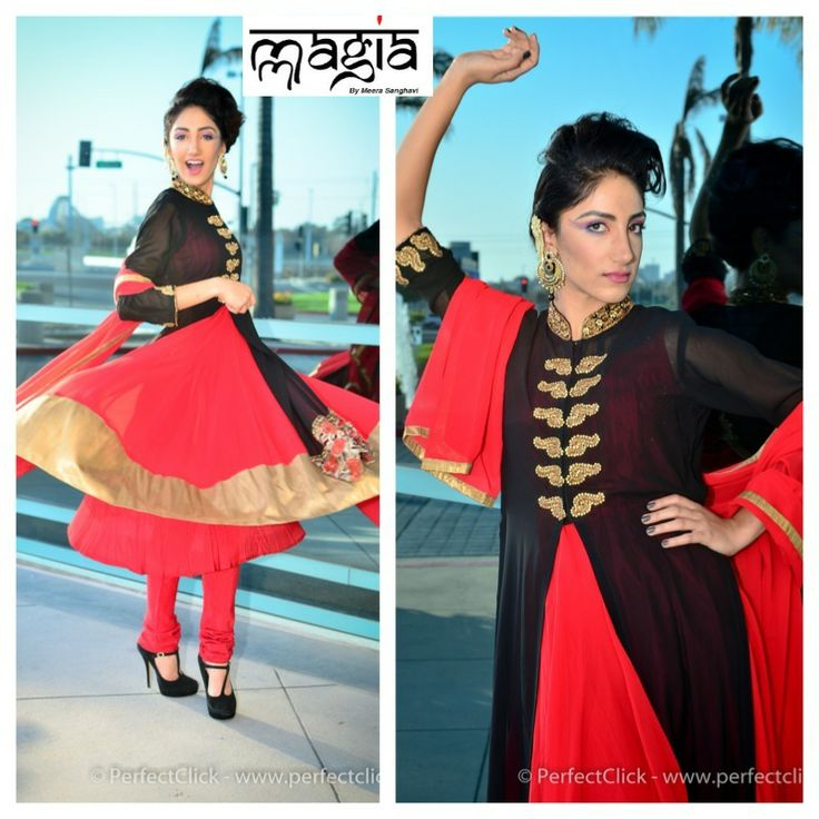 Ayesha in this Black and red 4 piece outfit to make it all fancy and glamorous.