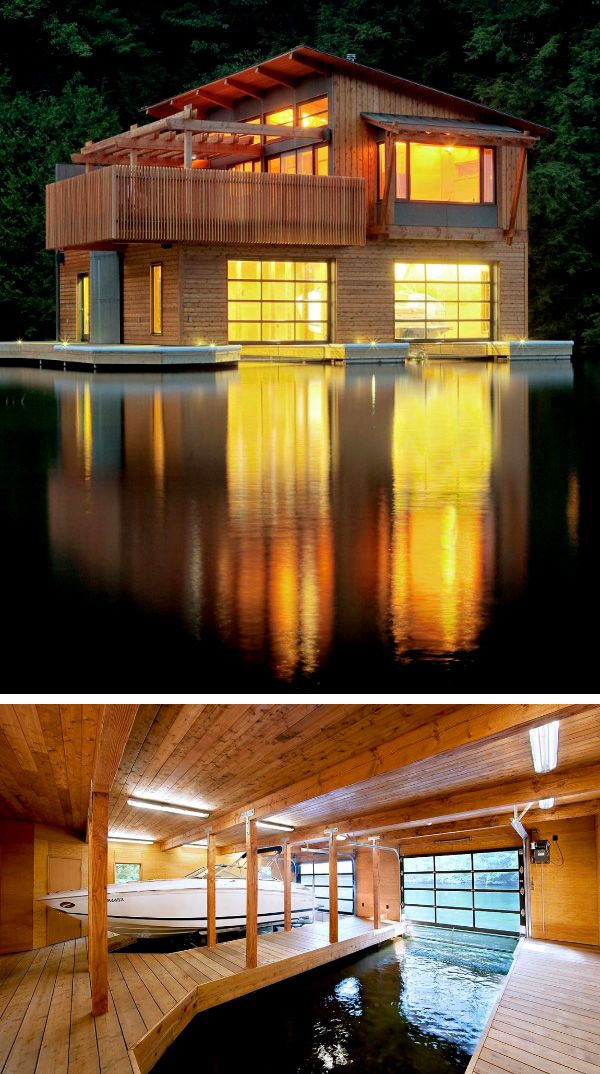 47 best 2 story garage images on pinterest flat roof for Boat garage on water