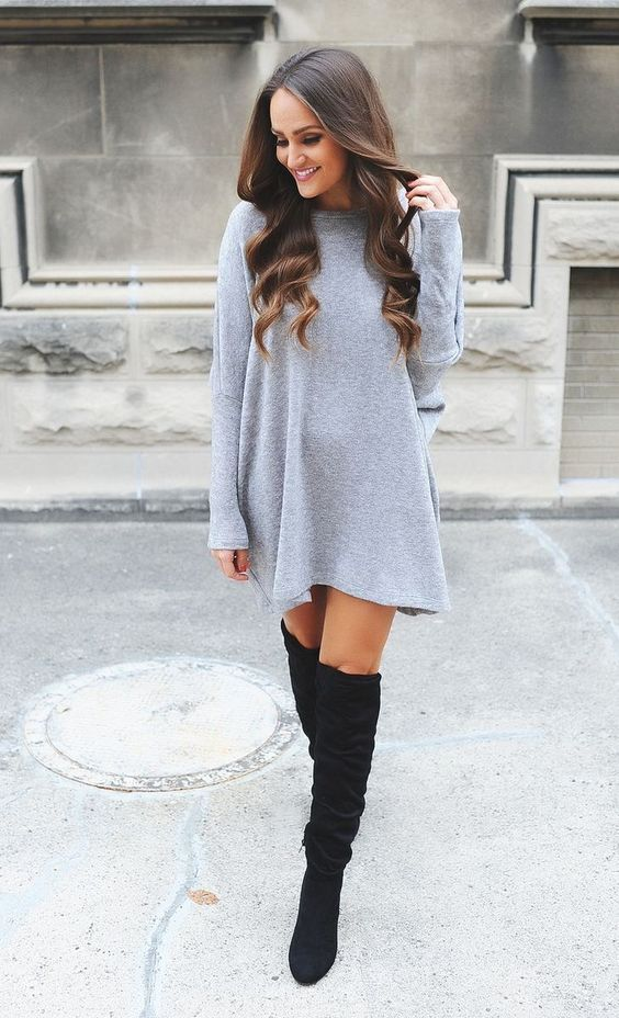 grey sweater dress + black OTK boots
