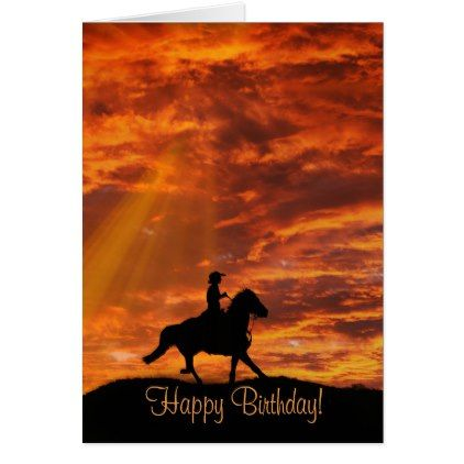 Cowboy and Horse Country Western Happy Birthday Card - birthday cards invitations party diy personalize customize celebration