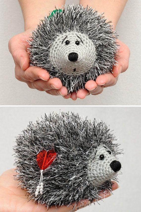 Crochet Hedgehog Heart Plush Toy Valentines Day by MeetBestKnit