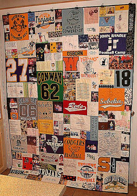 Tshirt quilt. So easy to do! Great for kids! Keep their fav shirts and then make into a quilt for their bed.