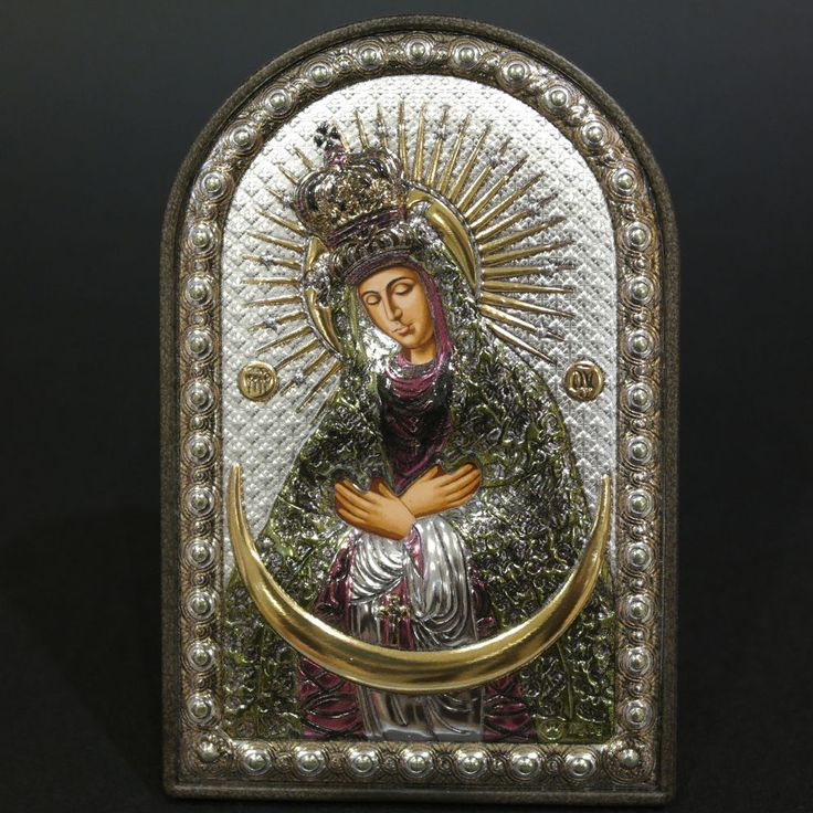 Orthodox Silver 925 Icon Greek Handmade Byzantine Virgin Mary Ostrobramsk 8x12cm