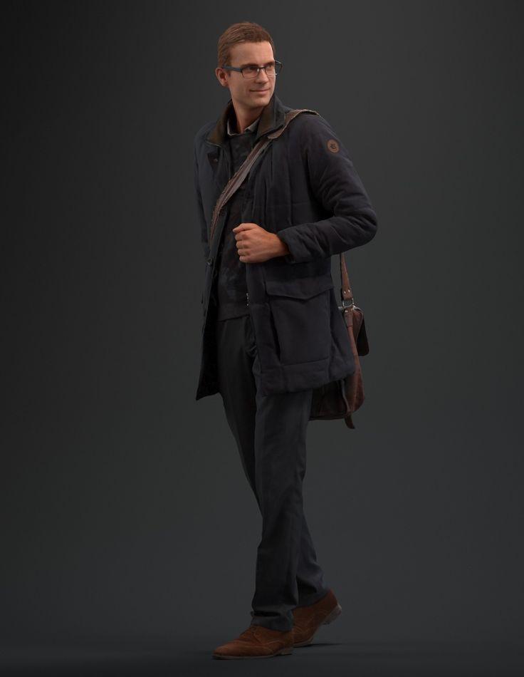 man walking guy realistic male 3d model